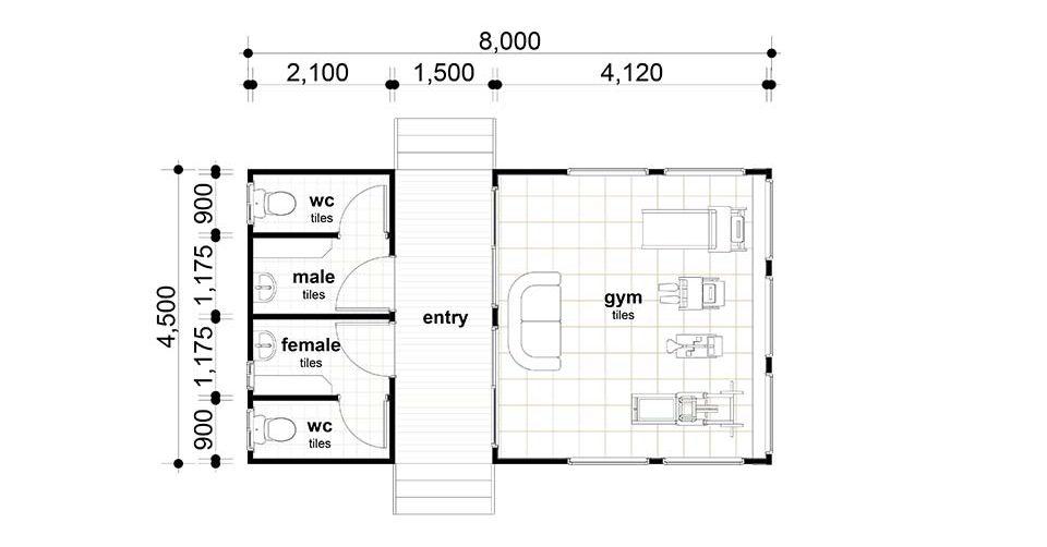 8 x 4.5m Gym Room
